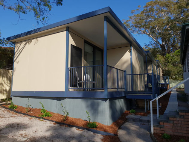 MAAP modular prefabricated panelised single bedroom units at a womens shelter used to house those who need it most